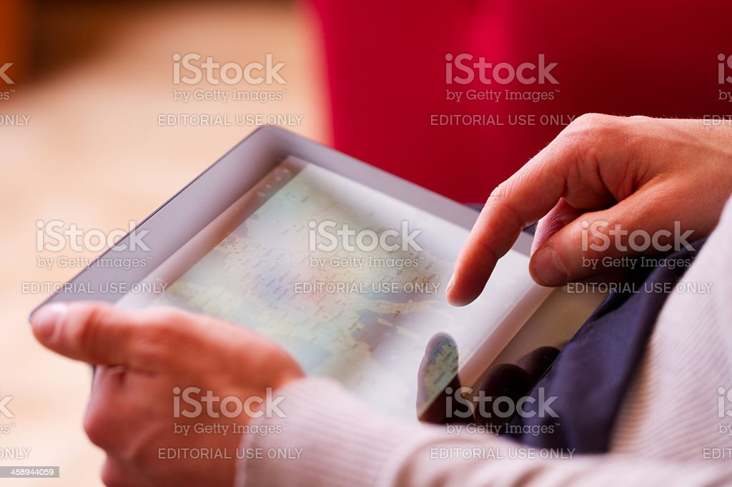 Man using a tablet stock photo