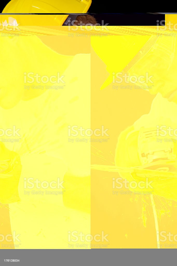 Man Using an Angle Grinder royalty-free stock photo