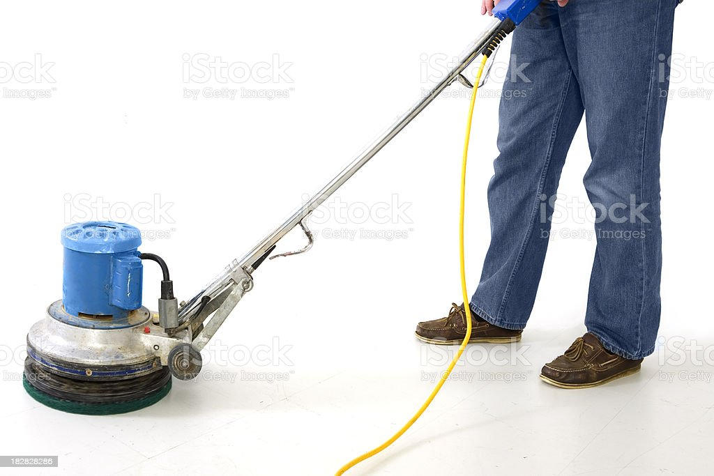 man using floor polisher stock photo