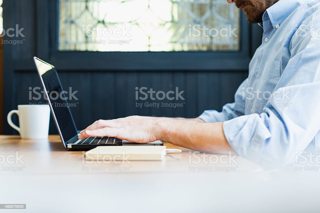 Man using laptop at home. stock photo