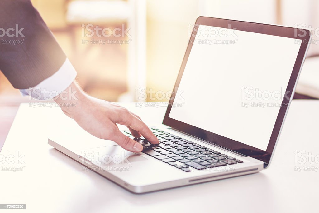 Man using laptop computer in home interior. stock photo