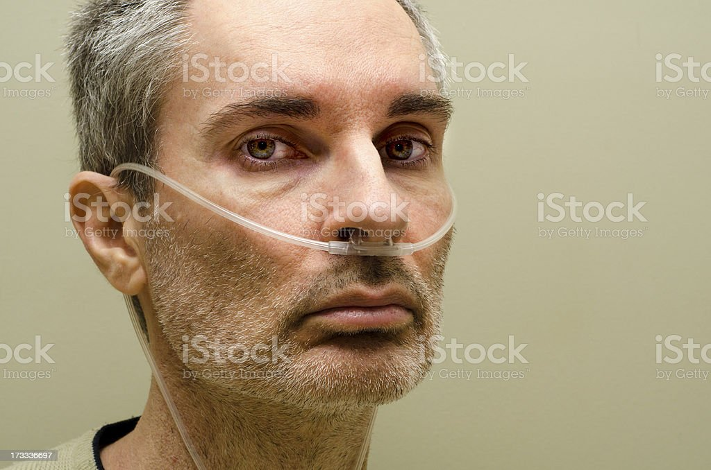 Man using medical oxygen stock photo