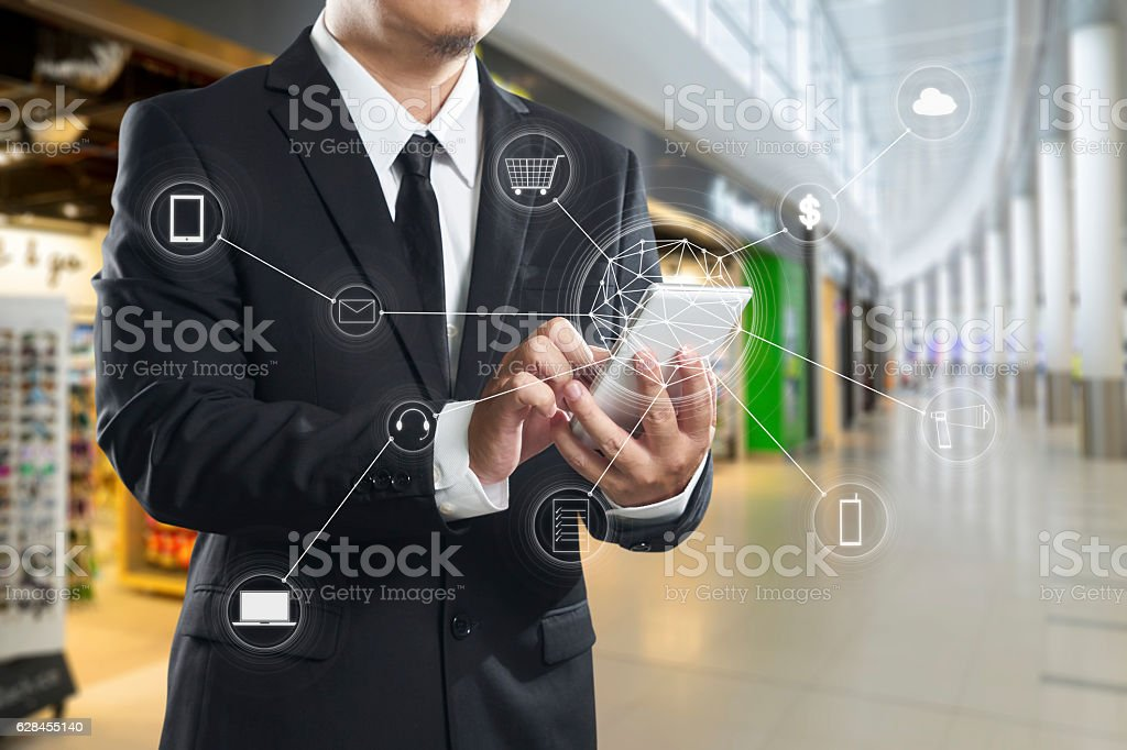 Man using mobile payments online shopping stock photo