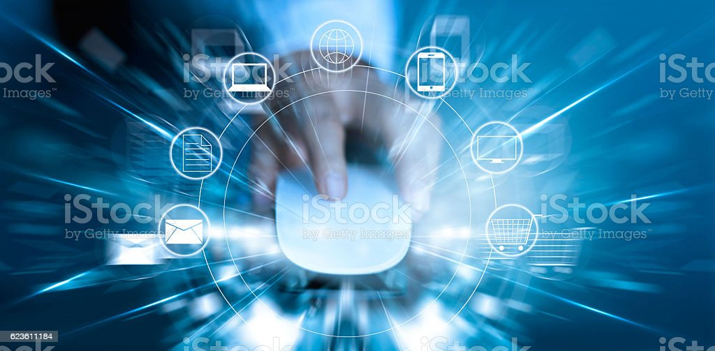 Man using mouse payments online shopping and icon customer network stock photo