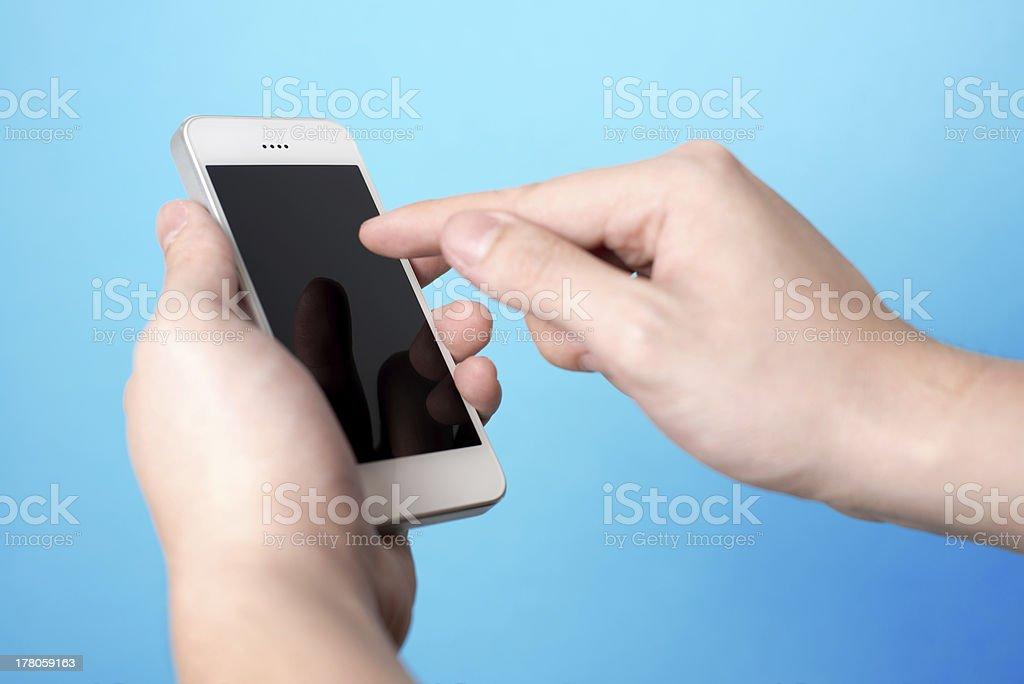 Man using smartphone stock photo