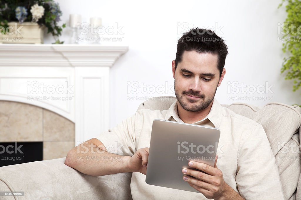 Man Using Tablet Computer royalty-free stock photo