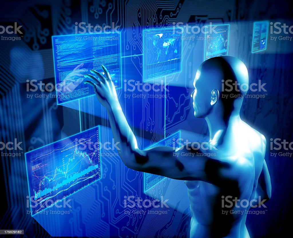 Man using touch screens concept royalty-free stock photo
