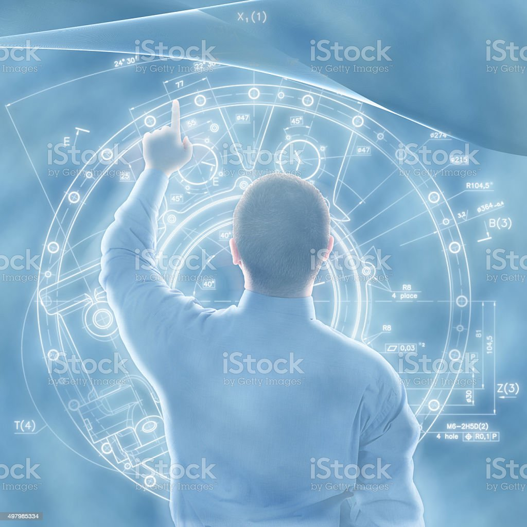 Man using touch screens concept stock photo