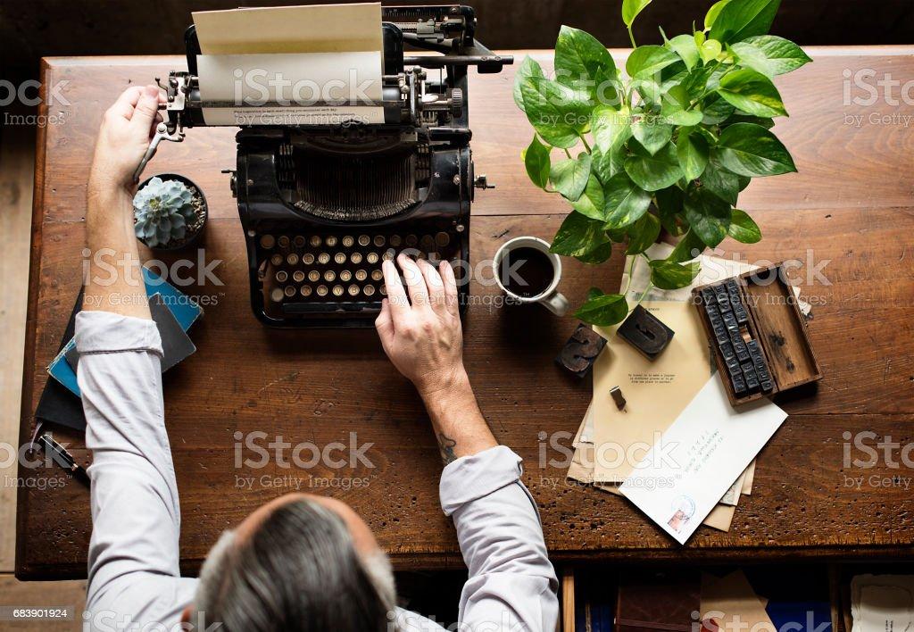Man Using Typing Retro Typewriter Machine Work Writer