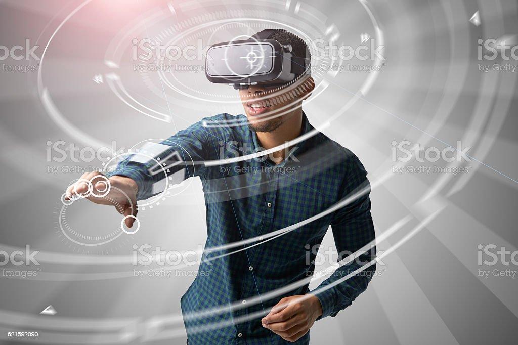 Man Using Virtual Reality Headset stock photo