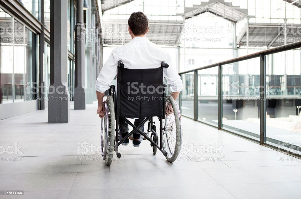 Man using wheel chair at the airport