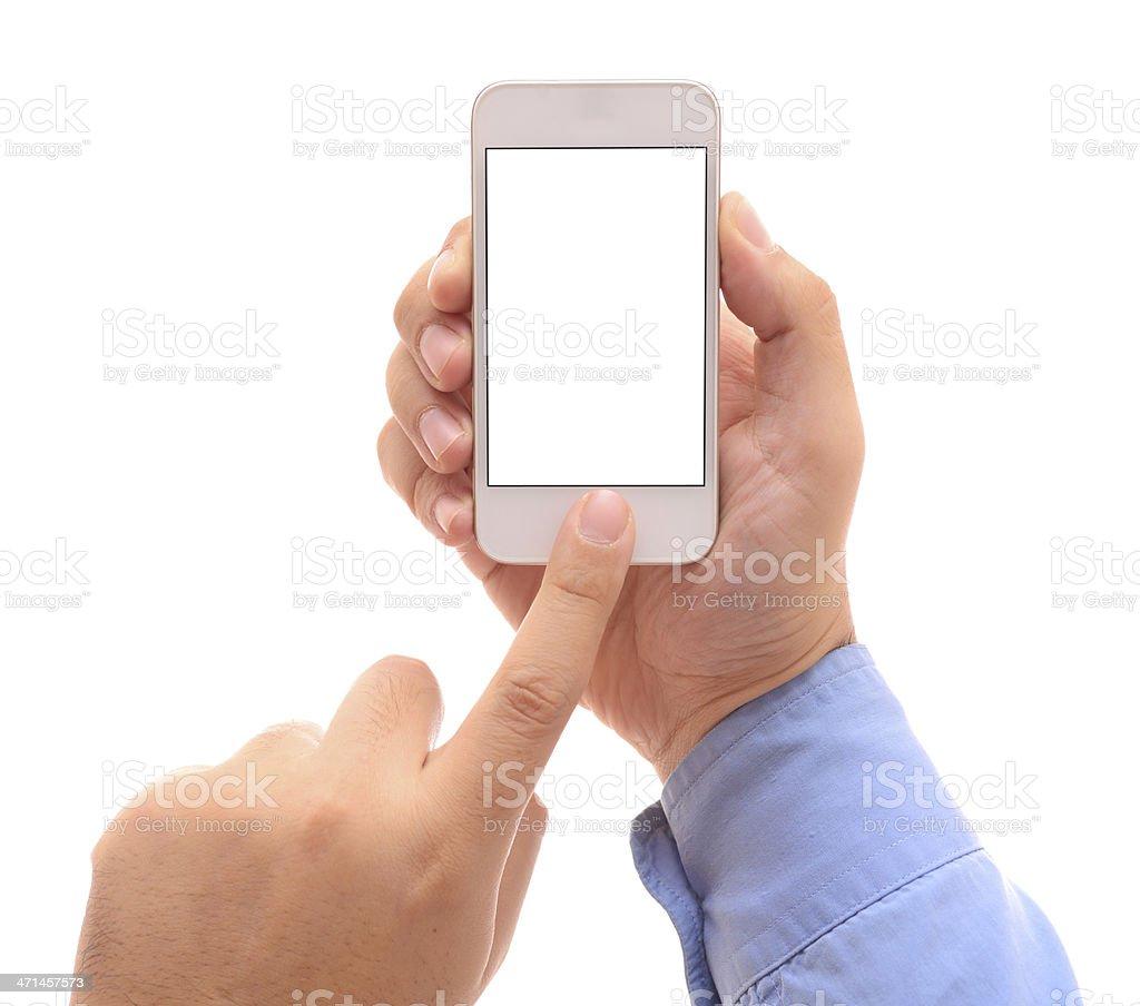 Man using white screen smart phone stock photo