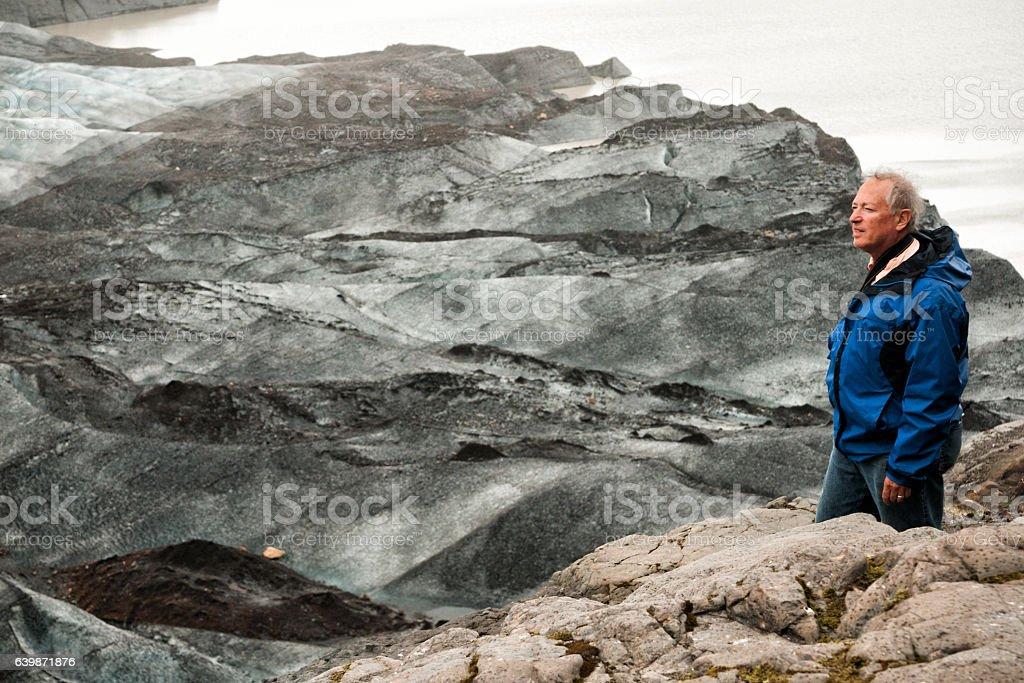 Man visits Iceland stock photo