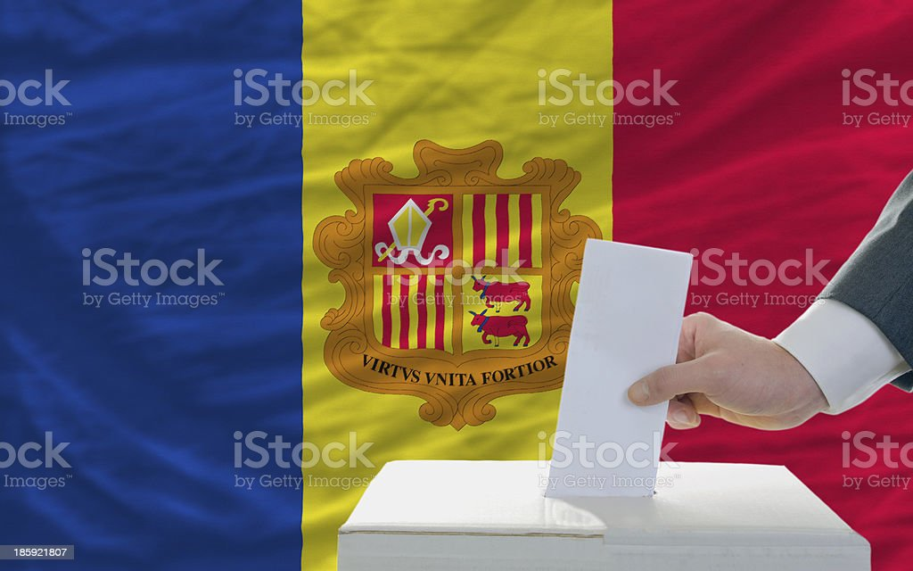 man voting on elections in andorra royalty-free stock photo