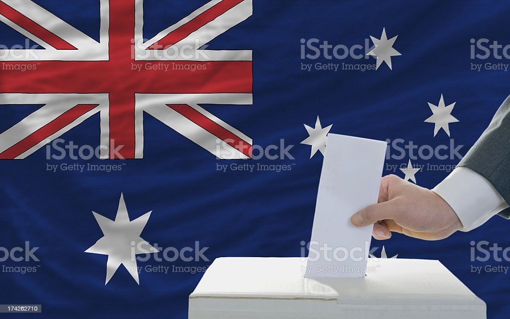 man voting on elections in australia royalty-free stock photo