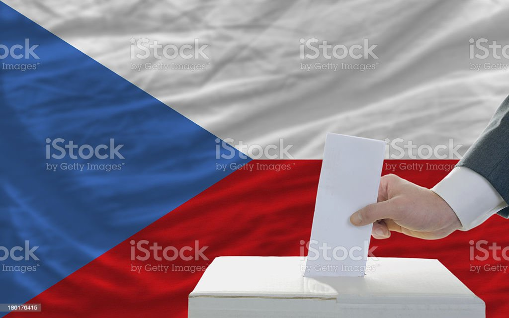 man voting on elections in czech royalty-free stock photo