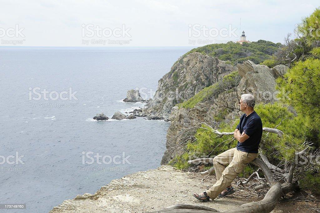 Man waching the sea royalty-free stock photo