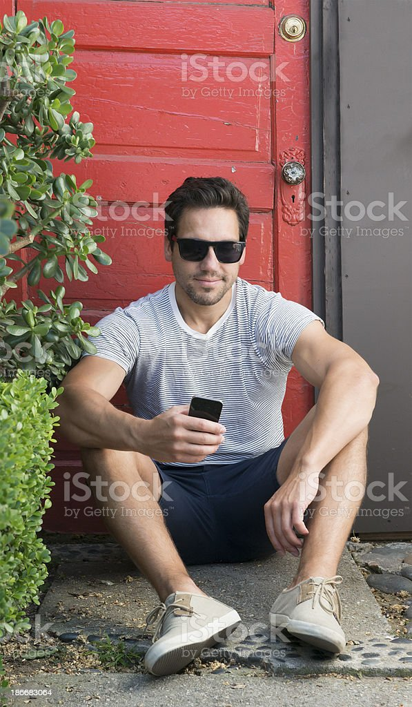 Man Waiting by front door royalty-free stock photo