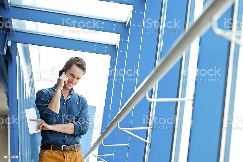 Man waiting for a plane royalty-free stock photo
