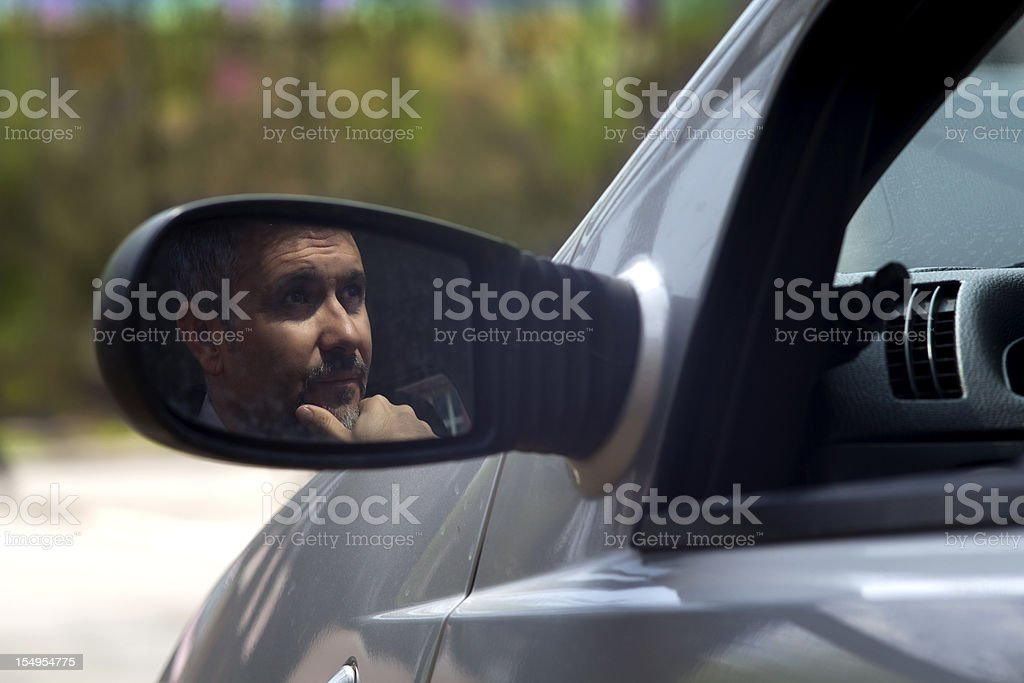 Man waiting in a car royalty-free stock photo