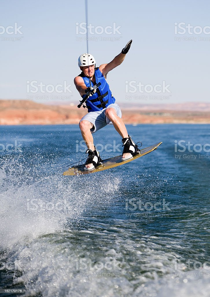 Man wakeboarding at Lake Powell 09 stock photo