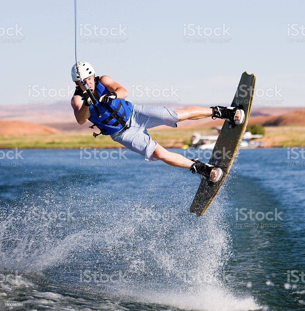 Man wakeboarding at Lake Powell stock photo