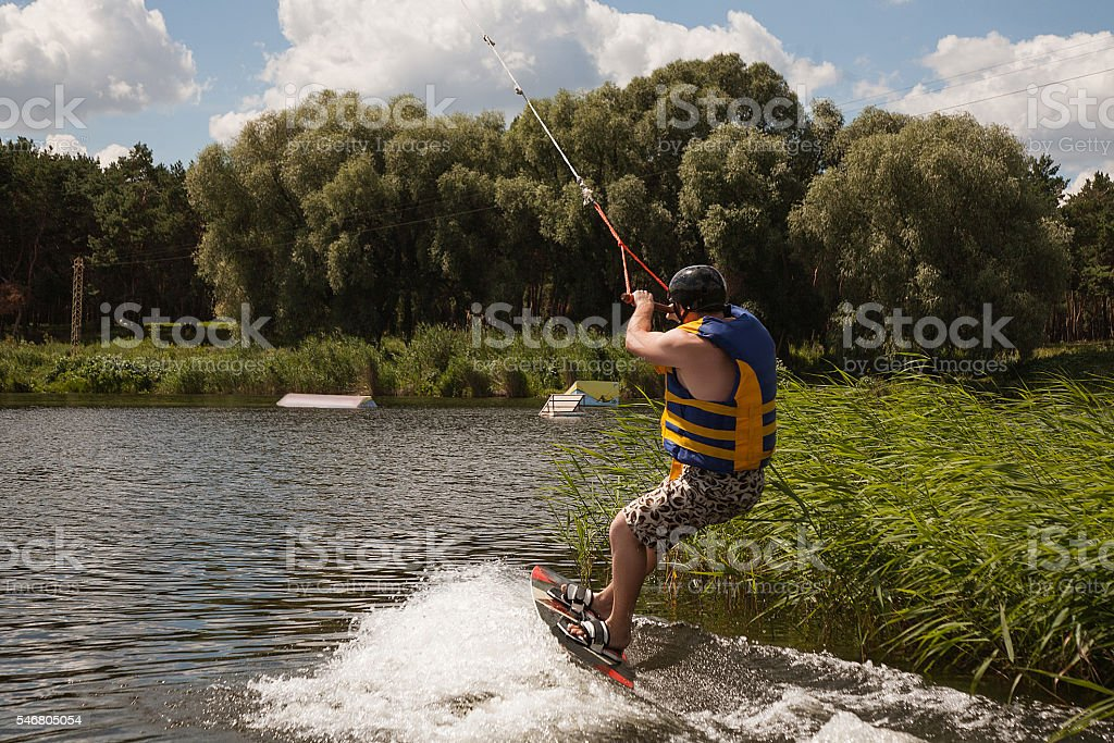 Man Wakeboarding stock photo