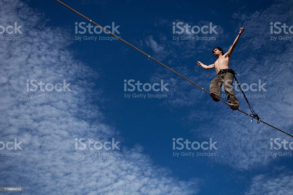 Man Walking a Highline stock photo