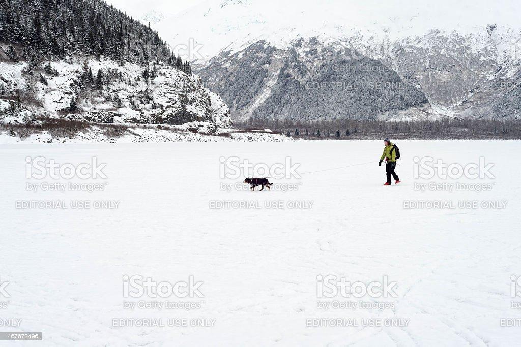 Man walking dog across a frozen lake in winter time stock photo