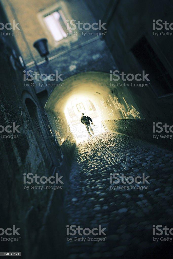 Man Walking Down Corridor royalty-free stock photo