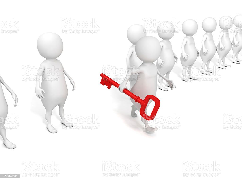 3D man walking forward with red key stock photo