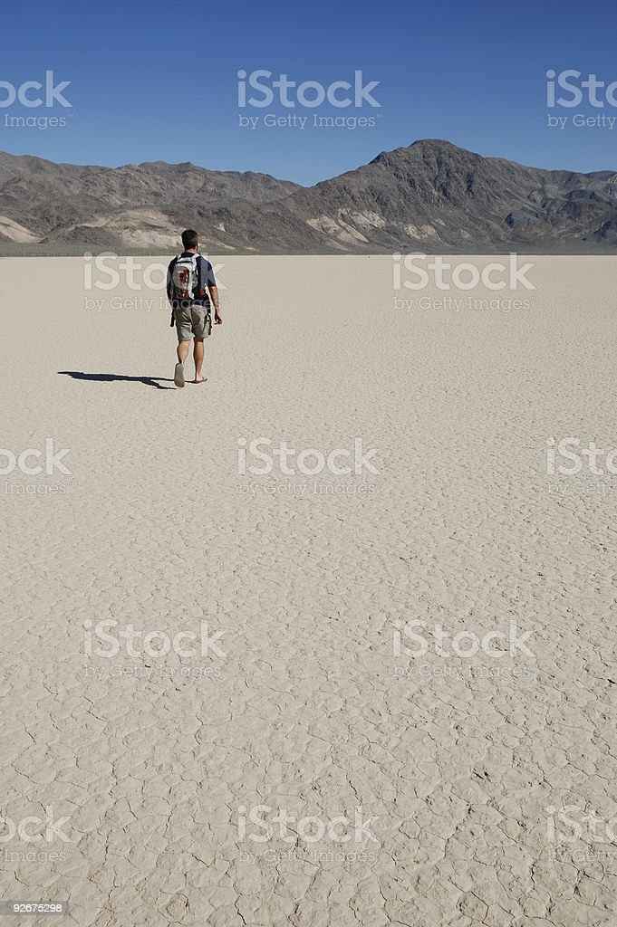 Man Walking in Death Valley royalty-free stock photo