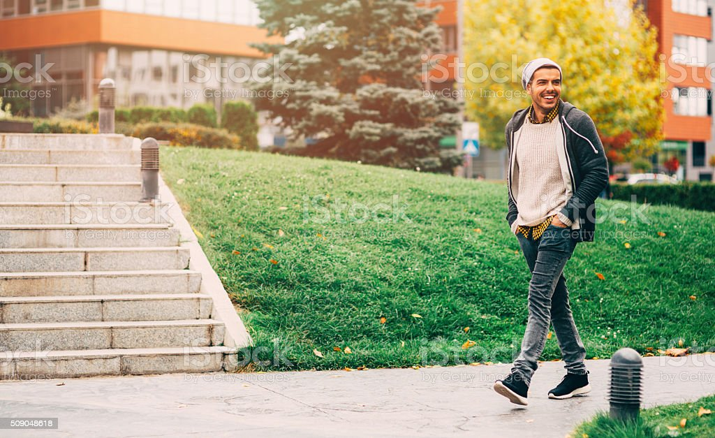 Man Walking In The City stock photo
