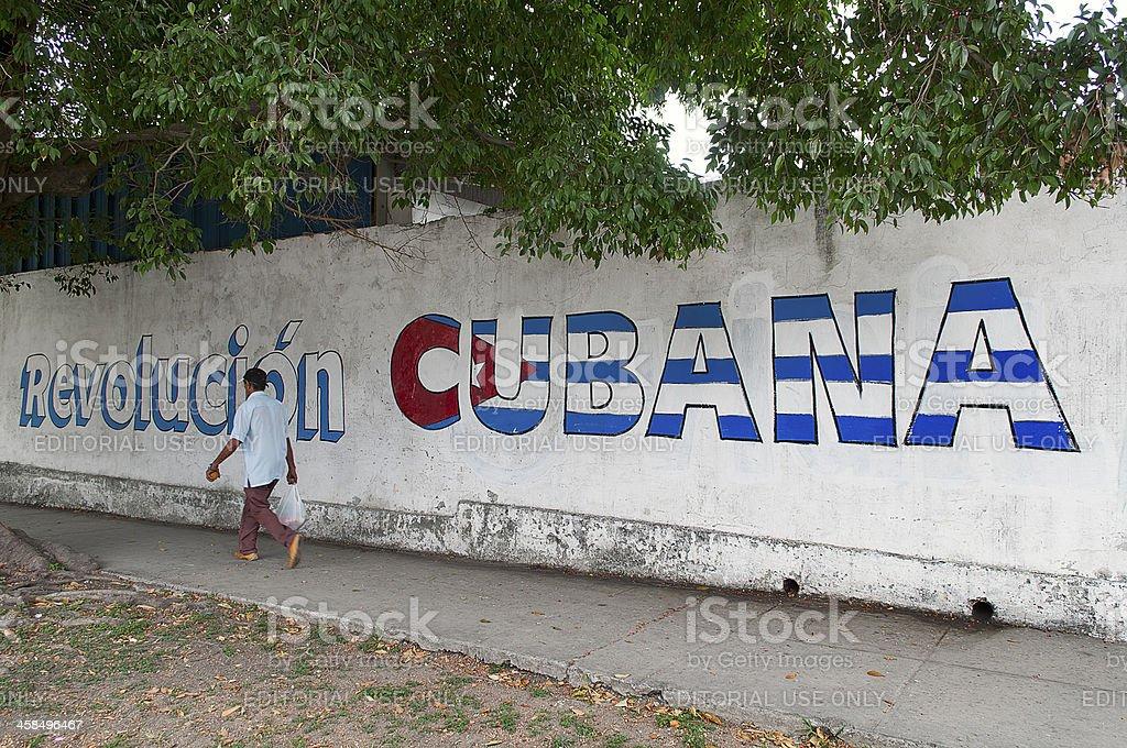 Man walking in the neighborhood of Vedado, La Habana stock photo