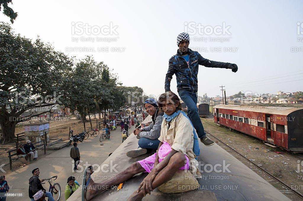 Man walking on the train, Janakpur, Nepal stock photo