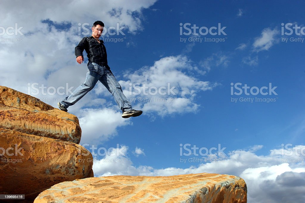 Man walking the corporate ladder royalty-free stock photo