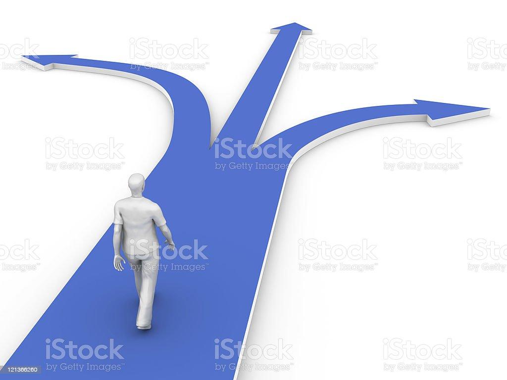 Man Walking Towards the Decision royalty-free stock photo
