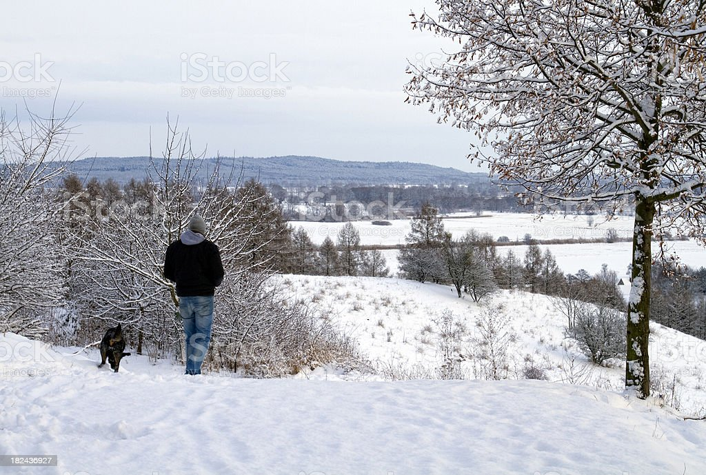 Man walking with dog in snow stock photo