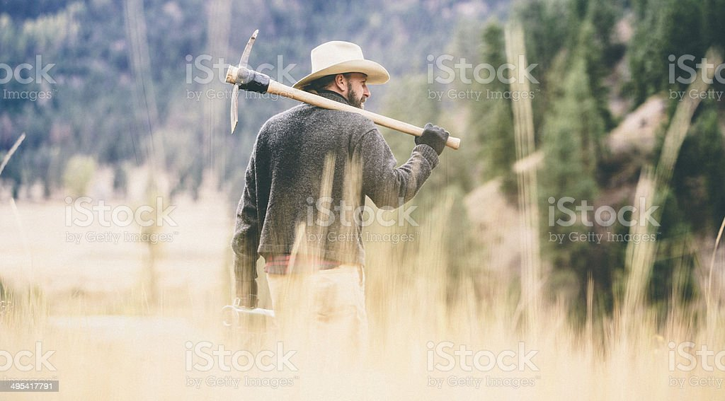 Man walks away in high grass carrying tool over shoulder stock photo