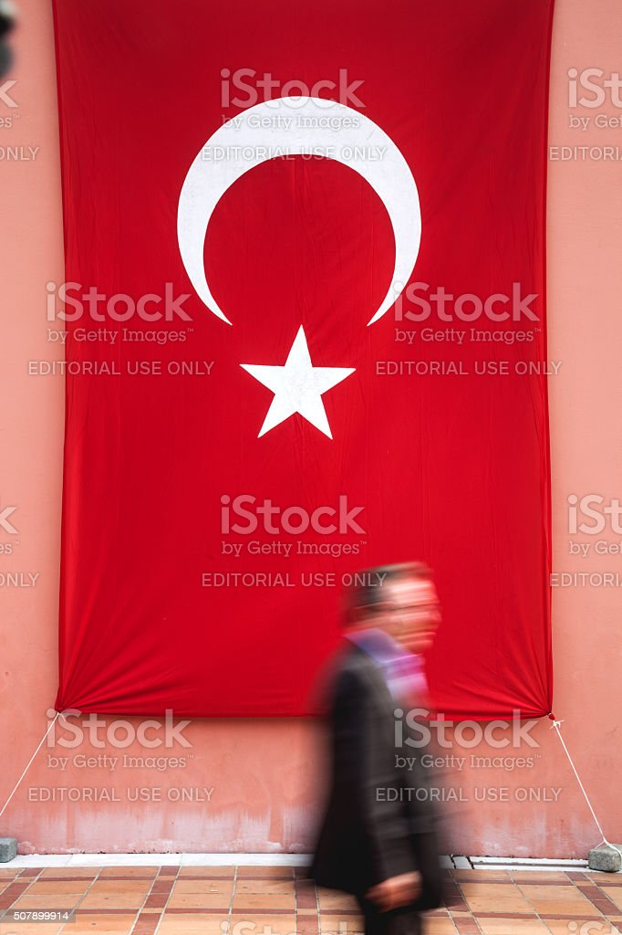 Man walks in central Istanbul on the Republic Day stock photo