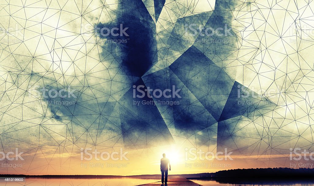 Man walks to the sun under digital 3d wire-frame sky stock photo
