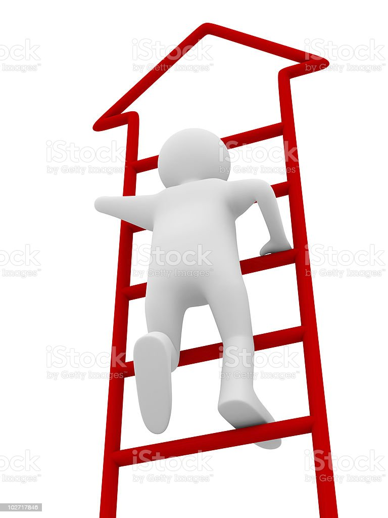 man walks upstairs on white background. Isolated 3D image royalty-free stock photo