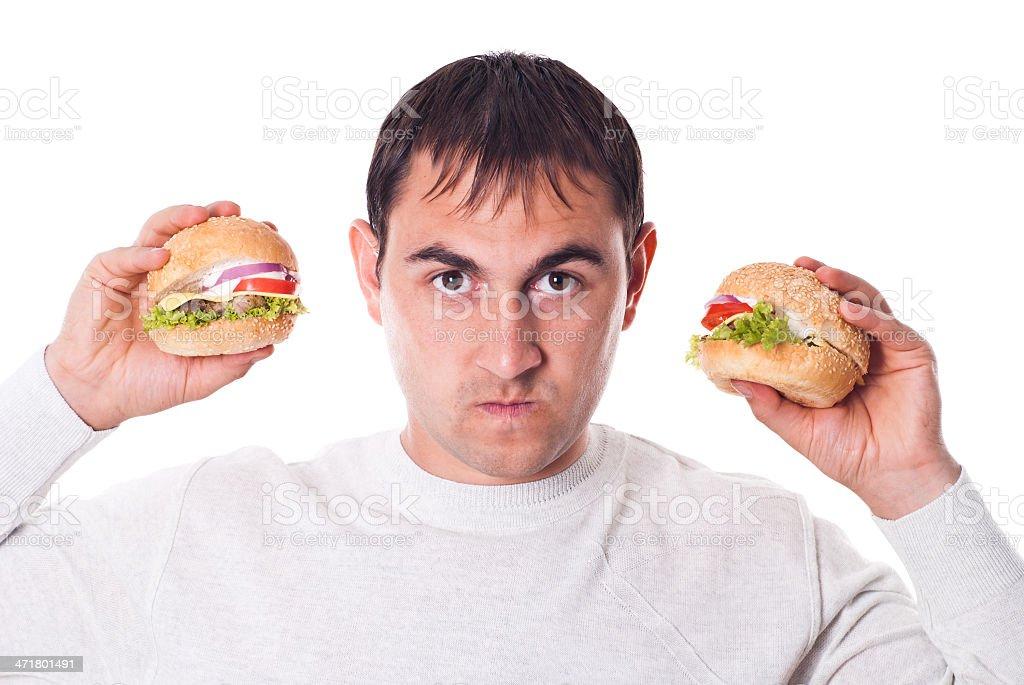 Man want a hamburger isolated royalty-free stock photo