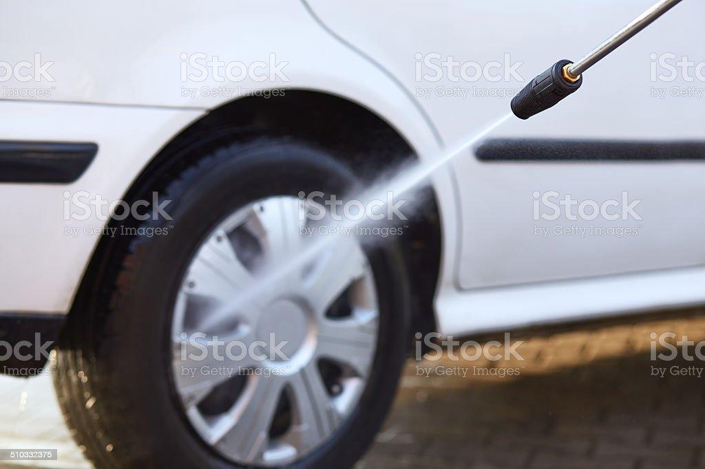 Man washing his car stock photo