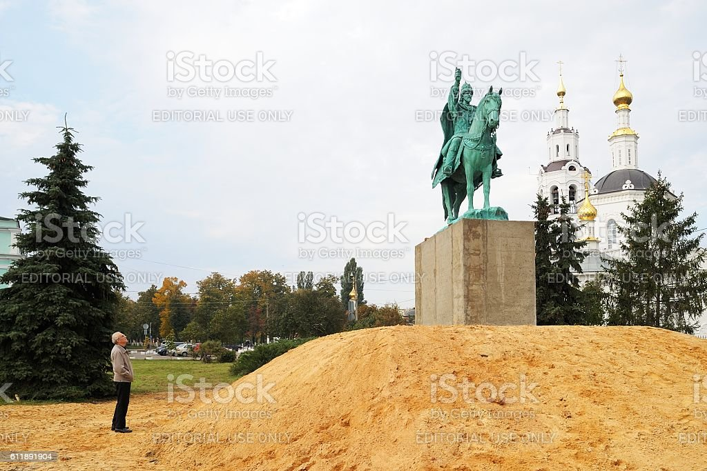 Man watching Ivan the Terrible monument installed stock photo