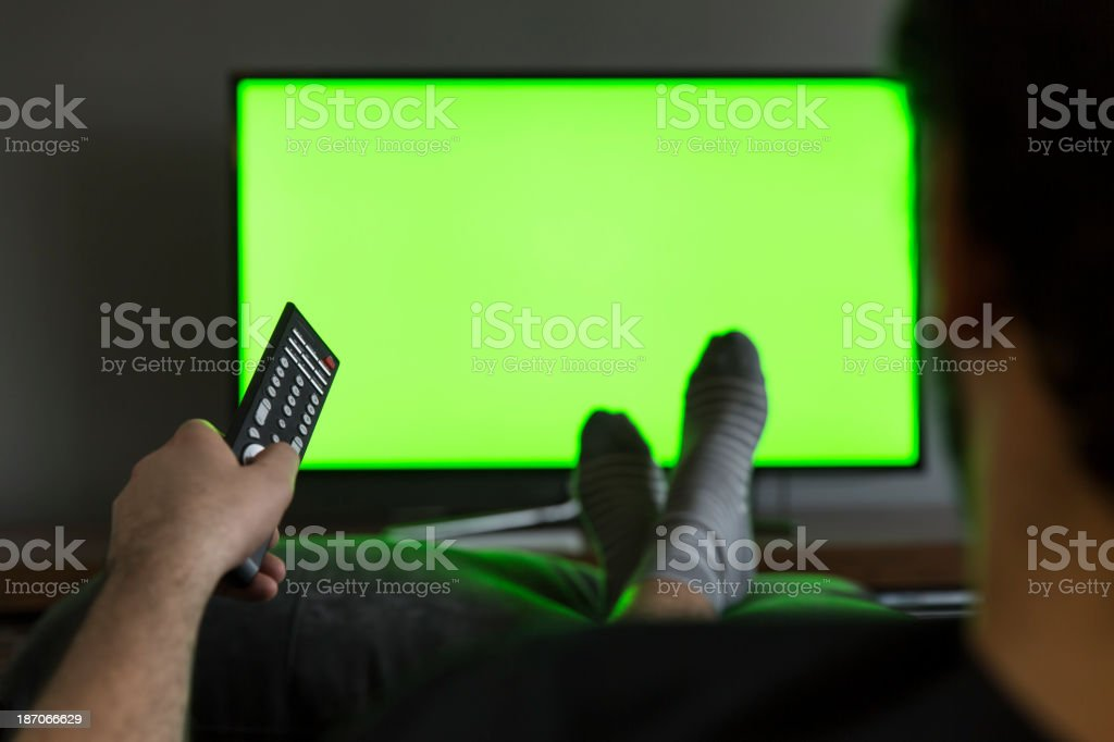 Man Watching Lcd Tv stock photo