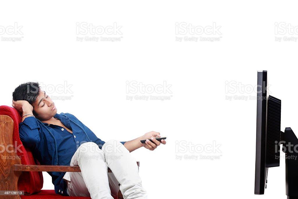 Man watching Television stock photo
