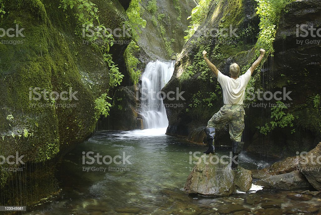 Man waterfall royalty-free stock photo