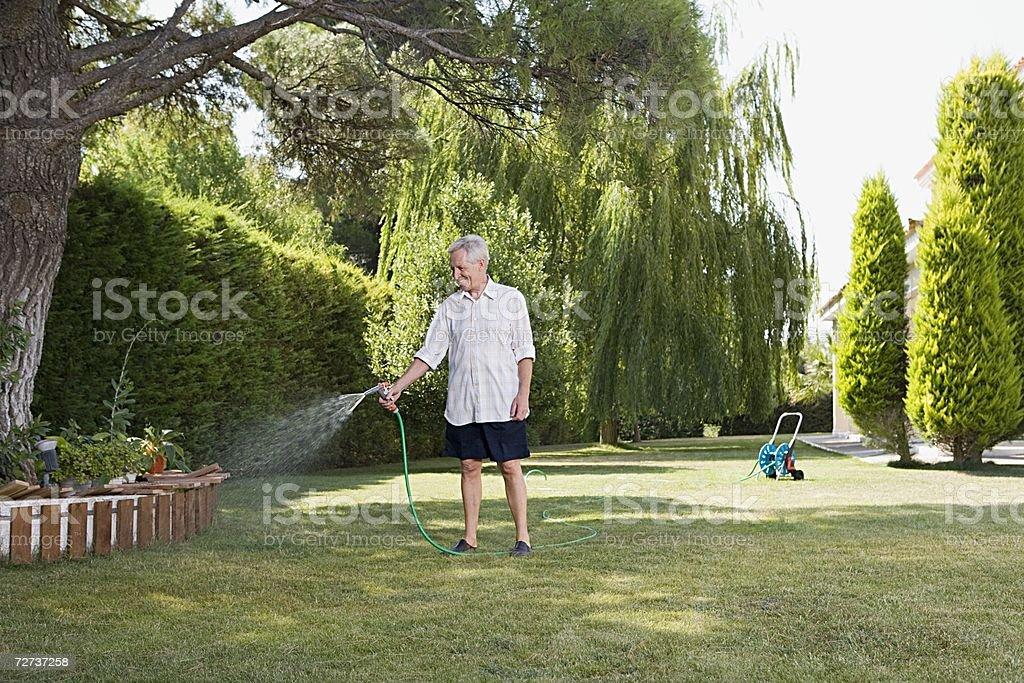Man watering lawn stock photo