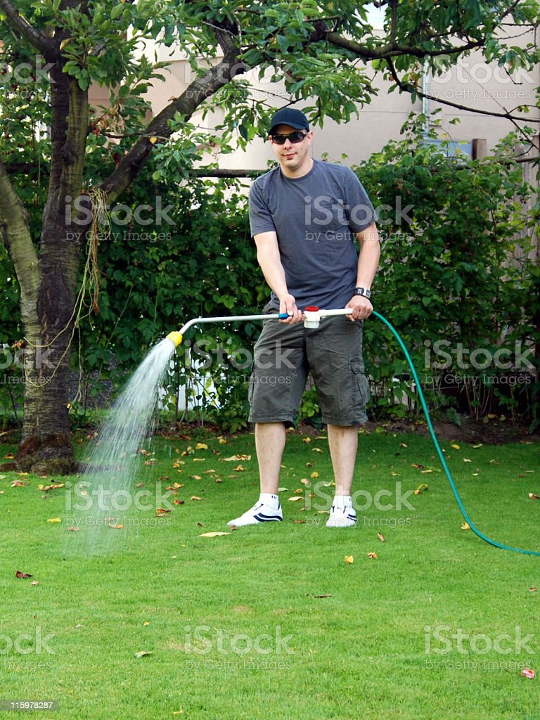 Man watering the lawn royalty-free stock photo